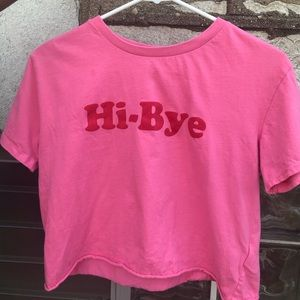 pink H&M Hi-Bye cropped t-shirt size Small